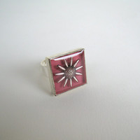 Dusty Rose Pink flower ring sunflower daisy square silver statement floral greek jewelry botanical nature bohemian hippie Spring Easter