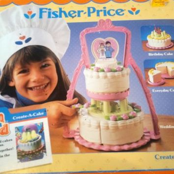 Vintage Fisher Price Fun With Food Create A Cake In Original Box Toy