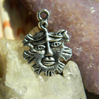 Tibetan Silver Face Tribal Charms Double Sided 4 Pieces