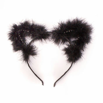 Kitten Play Ear - DDLG - PetPlay - Cat Ear Headband - Petplay Ear - Fur Cat Ears - Black Cat Ears - Kittenplay - Kitty Ears - Kitten Ear s