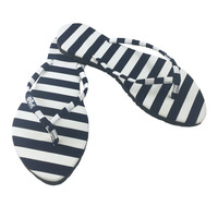 Slim Flip Flops for Women, Kawaii Fashion Sandals for Women, Navy Blue Sailor Striped Flat Flops Shoes