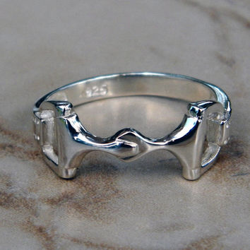 Sterling Silver Equestrian Horse Snaffle Bit Ring Superb Quality Sizes 5-9