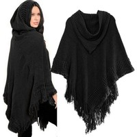 Women Cloak Hood Sweaters Coat Knit Batwing Top Poncho With Cape Tassel Outwear