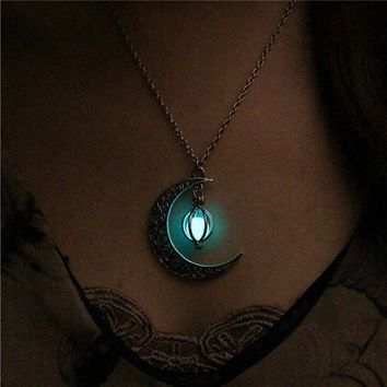Luminous Glow In The Dark Moon Pendant  Unisex Necklace