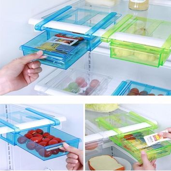 Kitchen Fridge Freezer Space Saver Organizer Refrigerator Storage Rack Shelf Holder Drawer