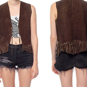 Fringe Leather Vest Top 70s SUEDE Southwestern BEADED 1970s Hippie Boho Southwest Vintage Hipster Bohemian Festival Brown Top Small Medium