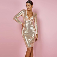 Sequin Bodycon V Neck Bandage Dress Party Sexy *Free Shipping