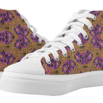 Purple and Gold Floral African Print Zips High Top Shoes