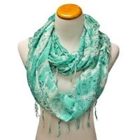 Mint Green & White Summer Print Wispy Fringed Infinity Circle Loop Scarf