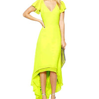 V-Neck Short Ruffled Sleeve Layered Maxi Dress