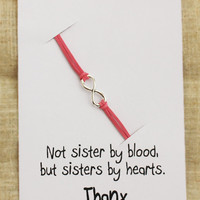 Not sisters by blood but sisters by Hearts Card Unisex Friends Infinity Pink Bracelet