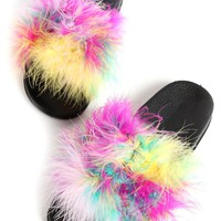 Furry Slide Sandals Shoes GS-LOVE