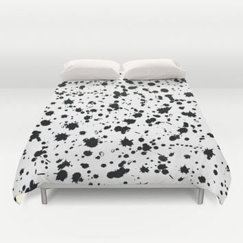 Black and White Duvet Cover - Black and White - Paint Splatter - Modern - Kids Bedding - Girls Bedding - Bedding - Modern Home Decor - Duvet