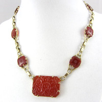 Art Deco 14K Yellow Gold Carved Carnelian Necklace Antique 1920s Floral Filigree Link Fine Jewelry