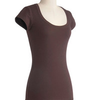 Learn the Basics Top in Brown | Mod Retro Vintage Short Sleeve Shirts | ModCloth.com
