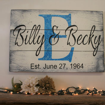 Name Sign Initial Sign Pallet Sign Wedding Gift Bridal Shower Gift Housewarming Gift Anniversary Gift Distressed Wood Wall Decor Wallhanging