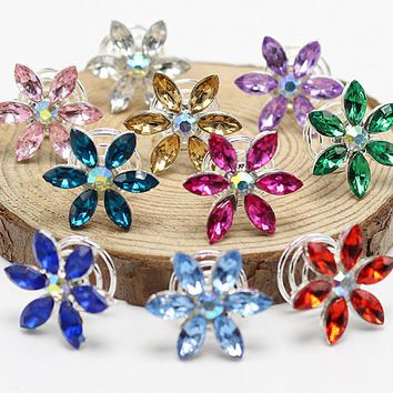 10pcs Rhinestone Leaf Colors Bridal Crystal  Twist Hair Spin Pins Women Fashion Swirl Spiral Hair Jewelry Party Accessories S-26