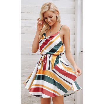 Warm Glow Rasta Multicolor Stripe Pattern Sleeveless Spaghetti Strap V Neck Elastic Waist Casual Flare Mini Dress