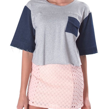 Happy Day Crop Top - Gray/Denim