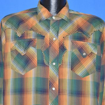 50s H Bar C Plaid Western Pearl Snap Men's Shirt Medium