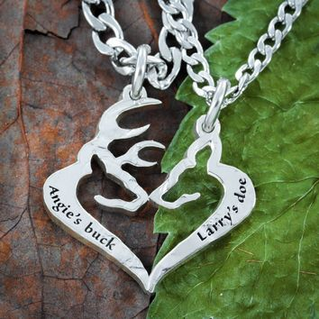 His Buck Her Doe Necklace, Custom Names engraved, Heart Jewelry