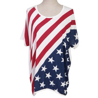 Sinful Theme USA American Flag Stars Stripe Batwing Sleeve White T-Shirt Tee