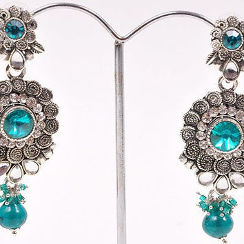 Silver Green Kundan earrings