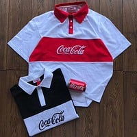 Coca-Cola 2018 Men and Women Classic Logo Stitching Embroidered T-Shirt F-XMCP-YC