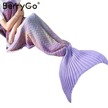 BerryGo Knitting throw fishtail sofa blanket Autumn winter warm mermaid blanket on the bed Multicolor soft portable sleeping bag