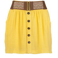 Yellow Skirt with Zig-Zag Belt