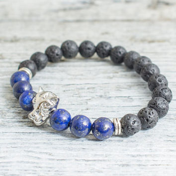 Black lava stone beaded silver Leopard head stretchy bracelet with lapis lazuli beads, yoga bracelet, mens bracelet, womens bracelet