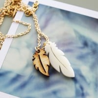 Feather Necklace SALE - Feathered White and Wood Pendants
