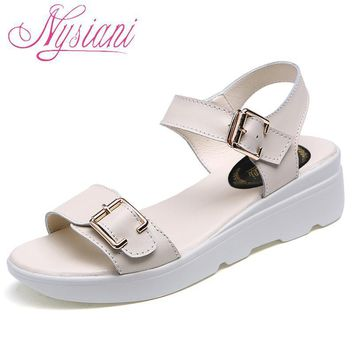 Nysiani Open Toe Wedge Sandals For Women 2017 Summer New Split Leather Solid Buckle St