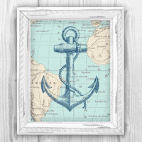Nautical Map Anchor Art Print  Nautical Beach House by BySamantha