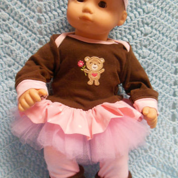 "AMERICAN GIRL Bitty Baby Clothes ""Pickin' Flowers"" (15 inch) doll outfit top dress, leggings, booties/ socks, and headband / hair clip"