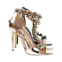 Tisha6A Metal Bolt, Half Orb Button, Open Toe T-Strap High Heel Stiletto Sandal