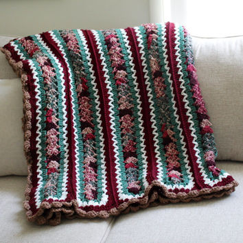 Afghan - Handmade Crochet Queen Size Blanket - Pink, Green, White and Red Multi