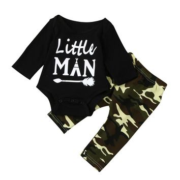 Camouflage Newborn Baby Boys Clothes 2017 Autumn Little Man Print Long Sleeve Romper Tops+Pant Trouser 2PCS Outfit Clothing Set