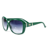 Women's Classic Square Frame Sunglasses w/ Logo Accent - Green Color: Green