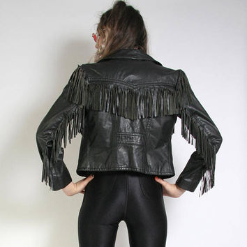 Vintage Black Fringe Leather Motorcycle Jacket - 80s 90s Moto Jacket - Small Womens - Punk Jacket Rock and Roll - Biker Jacket - Easyrider