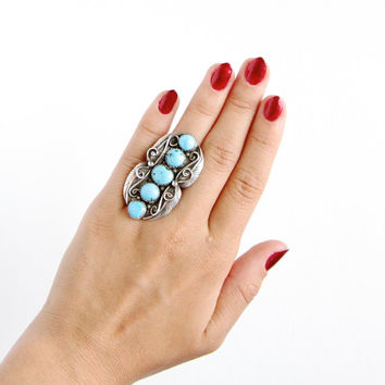 Vintage Huge Sterling Silver Blue Turquoise Ring - Size 7 1/2 Retro 1960s Southwestern Native American Style Leaf Statement Nature Jewelry