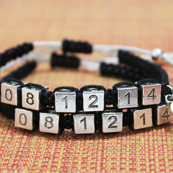 Date Couples Bracelets, Boyfriend Girlfriend Bracelets, Personalized Jewelry, Valentines Gift
