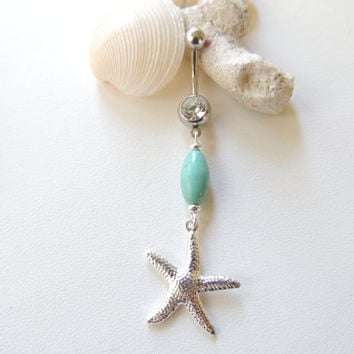 Starfish Belly Button Ring, Gold Belly Button Ring, Navel Piercing, 14g Curved Barbell, Body Jewelry. 251