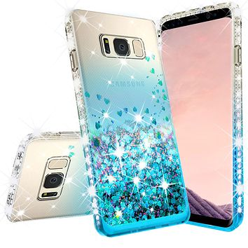 Samsung Galaxy Note 5 Case Liquid Glitter Phone Case Waterfall Floating Quicksand Bling Sparkle Cute Protective Girls Women Cover for Galaxy Note 5 - Teal