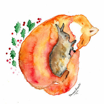 Watercolor Fox, Fox Painting, Original Watercolor,  Fox Art, Fox Illustration, Sleeping Fox and Rabbit, Animal, Nature, Woodland, Whimsical
