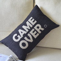 Game Over Print Decorative Pillow B [006] : Cozyhere