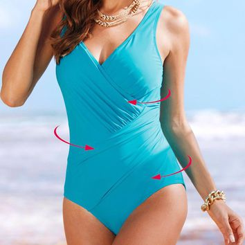sexy vintage solid dots blue large plus size 4XL ruched brand sale deep v one piece wire free girl women swimwear new swimsuit