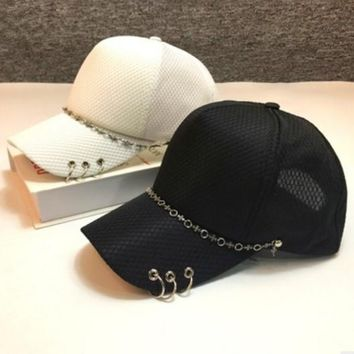 Fashion Personality Iron Ring Webbing Flat Cap Unisex Hip-hop Baseball Cap Couple Sun Hat