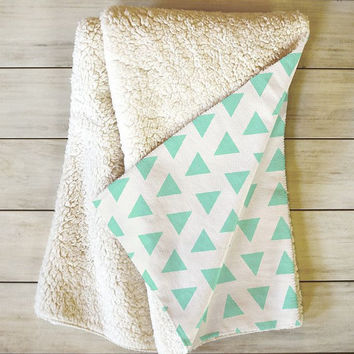 Minty Triangles Sherpa Throw Blanket / mint triangle pattern / cute / girly / preppy / triangle pattern / blue / tribal pattern / basics
