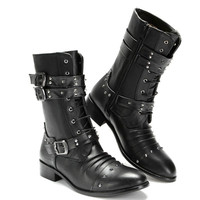 Gothic Shoes Spring Autumn Funky British Style Safety Punk Boots Winter Rivets Buckle Pointy New Arrival Korean Side Zip